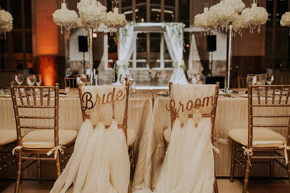 modern-day traditional wedding, gold and white table decor, miami wedding at the Alfred I Dupont Building